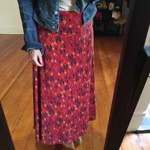 LuLaRoE Maxi Skirt Printed Orange